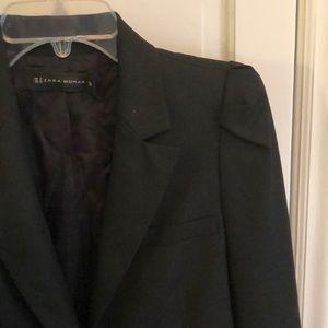 Zara black blazer puffed shoulders Sz M